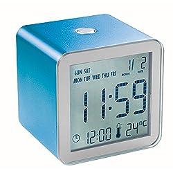 Lexon Cube Sensor LCD Travel Alarm Clock in Blue
