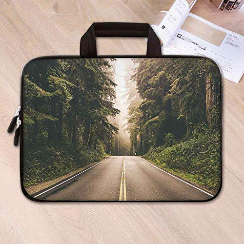 (Adventure Waterproof Neoprene Laptop Bag,Straight Highway in Northern California United States Nature Photography Decorative for Business Casual or School,14.6''L x 10.6''W x 0.8''H)