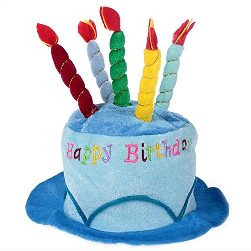Birthday Cake Candle Hat Short Plush Adult Party Amusement Park Supplies Performing Dress Props Dog Cap Blue (Halloween Punch Drinks Adults)