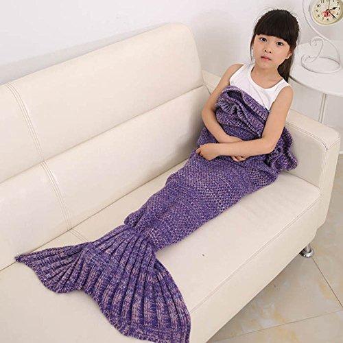 Kuoser Mermaid Tail Blanket super soft Handcrafted Crochet Warm sofa sleeping Bag Rug All seasons falbala Bedding Throws for kids,Regency (Gold Crochet Cardigan)