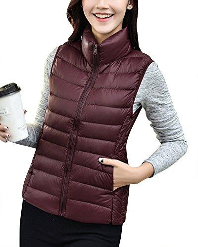 ZhuiKun Women's Down Gilet Coat Vest Ultra Light Weight Packable Puffer Jacket Winered