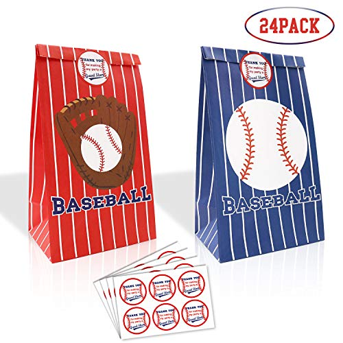 Party Baseball - 24 Packs Baseball Goodie Candy Treat Bags Baseball Party Gift Bags with Thank You Stickers for Kids Sports Theme Birthday Party Decorations MLB Game Celebration Supplies