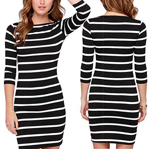 2f90c4612b6 Fedi Apparel Women s Strip Bodycon Dress V Neck Striped Loose Shirt Plus  Size 80%OFF