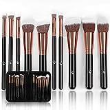 organic airbrush makeup - Magnifeko Professional Makeup Brushes Set With case (10-Piece Kit) Face, Eyeshadow, Blending, Contouring, Foundation | Synthetic Bristles | Round, Tapered, Kabuki and Angled