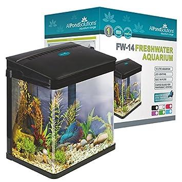 Todos Estanque Soluciones Nano Fish Tank Acuario Luces LED, tamaño pequeño, 14 L, Negro: Amazon.es: Productos para mascotas