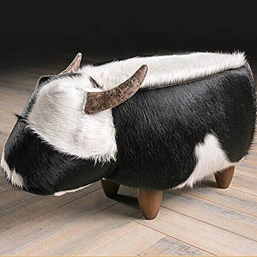 収納ベンチ スツールを変更するフットスツールリビングルーム靴スツールレザーカーフパーソナリティクリエイティブ動物クローク靴 柔軟 多用途 (Color : Black, Size : 70x40x40cm)