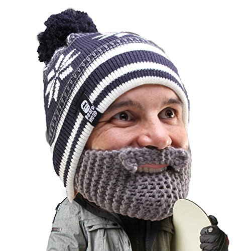 Beard Head Stubble Bumper Beard Beanie - Funny Winter Hat and Fake Beard Grey -