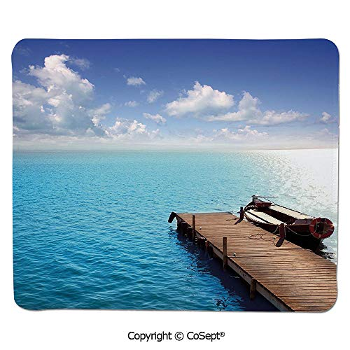 Ergonomic Mouse pad,Wooden Deck on Charm Lake Holiday Europe Coast Tranquil Sea View,Dual Use Mouse pad for Office/Home (7.87