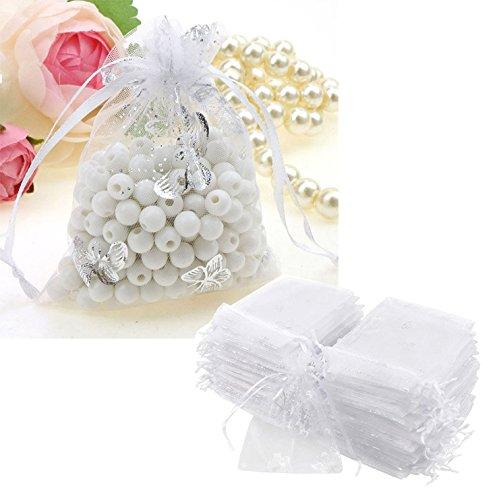 100 x Weiß Organzabeutel Organzasäckchen Geschenkbeutel 129cm Hochzeit
