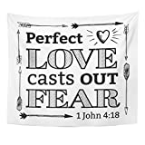 Breezat Tapestry Perfect Love Casts Out Fear Christian Bible Scripture with Arrow Border and Heart Light Rays From John Home Decor Wall Hanging for Living Room Bedroom Dorm 50x60 Inches