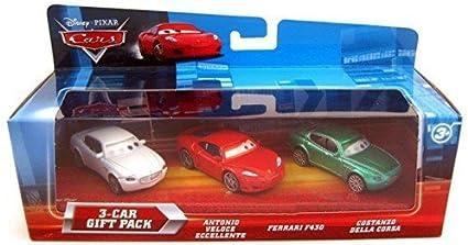 Amazon Com Disney Pixar Cars Movie 155 Die Cast Car With Lenticular Eyes 3car Gift Pack Antonio Veloce Eccellente Ferrari F430 Costanzo Della Corsa Toys Games