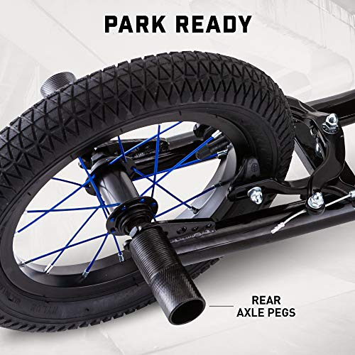 Mongoose Expo Youth Scooter, Front and Rear Caliper Brakes, Rear Axle Pegs, 12-Inch Inflatable Wheels, Non Electric