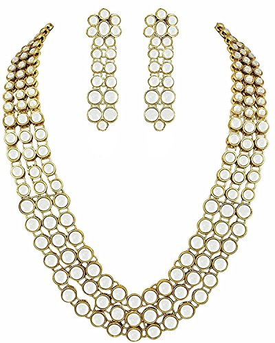 YouBella Jewellery Bollywood Ethnic Kundan Traditional Indian Necklace Set with Earrings for Women