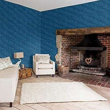 Fine Decor Solstice Faux Grasscloth Dark Blue Wallpaper 53cm x 10m