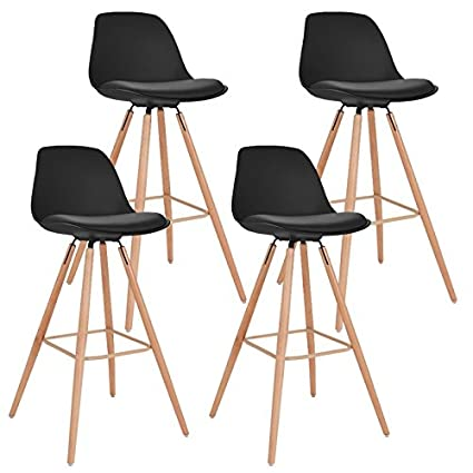 Tabouret De Bar Amazon.Idmarket Lot De 4 Tabourets De Bar Sara Noir
