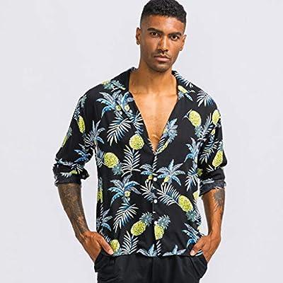 WINJUD Mens Shirt Hawaiian Pineapple Print Slim Fit Tops Long Sleeve Button Casual Top at  Men's Clothing store