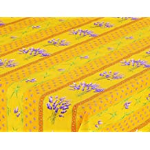 """60x96"""" Rectangular Lavender Yellow Cotton Coated Provence Tablecloth by Le Cluny"""