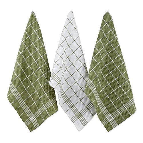 - Cotton Waffle Checkered Terry Dish Towels, 18x25