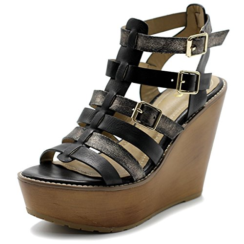 Ollio Womens Shoe Burnish Vintage Gladiator Strap Wedge High Heel Sandal (8.5 B(M) US, Black)