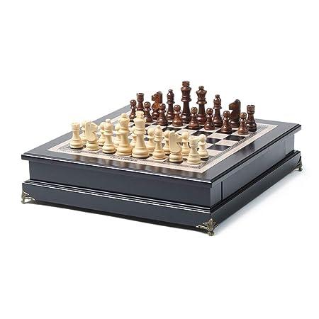 WJMLS Juego de Mesa de Madera con Incrustaciones de ajedrez con ...