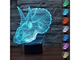 Yunqir Compatible 3D Dinosaur Head LED Light Figure Illusion 7 Color Changing Smart Touch USB Table Desk Lamps
