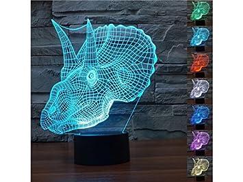Ordenador Portátil Cabeza de Dinosaurio 3D luz LED Illusion 7 Cambio de luz Inteligente Touch USB Mesa Lámparas de Escritorio Lampara de Lectura: Amazon.es: ...