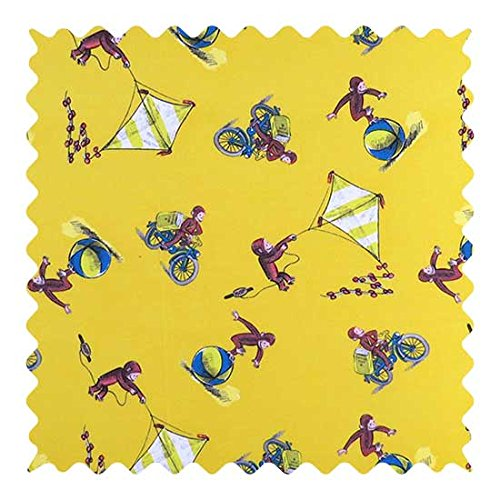 SheetWorld 100% Cotton Percale Fabric by The Yard, Curious George Fun, 36 x ()