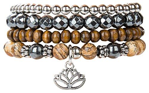 Lotus New Beginnings Bracelet Hematite for healing Stack Bracelet Set | SPUNKYsoul Collection (Stack Gift)