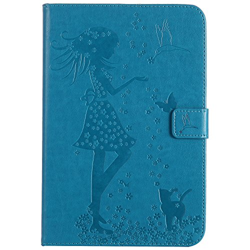 iPad Mini 4 Case, BONROY® Apple iPad Mini 4 Smart Case Cover Cat and Tree pattern series Ultra Slim Smart-shell Built-in Stand Auto Wake/Sleep For Apple iPad Mini 4 Girl and cat - blue