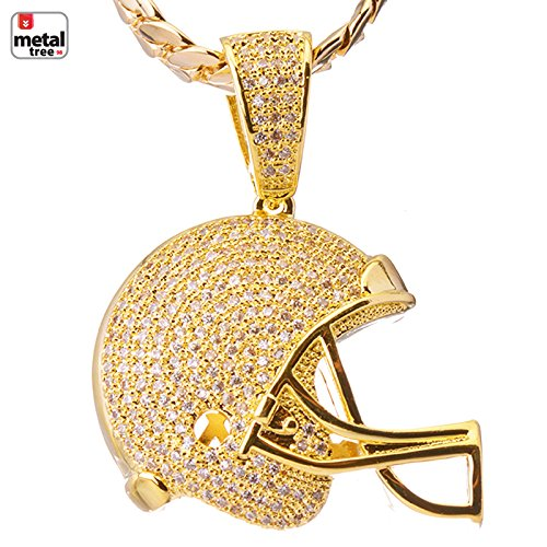 Foot Pendant 14kt Gold Jewelry (Luxury Hip Hop Iced Out 14kt Gold Plated Mini Foot Ball Helmet Pendant Miami Cuban Chain Set BCH 1149)