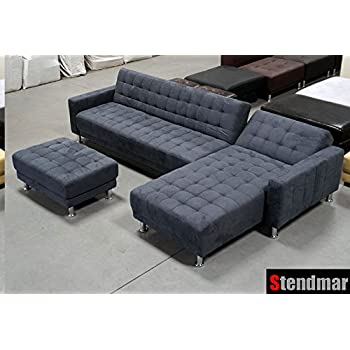 Dark Grey Microfiber Sectional Sleep Sofa King Bed w/ Ottoman S0402CR  sc 1 st  Amazon.com : gray microfiber sectional - Sectionals, Sofas & Couches