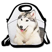 JDE D XKJA Cute Husky Printed Portable Lunch Bag Carry Case Tote With Zipper Strap Box Cooler Container Bags Picnic Outdoor Travel Fashionable Handbag Pouch For Women Men Kids Girls