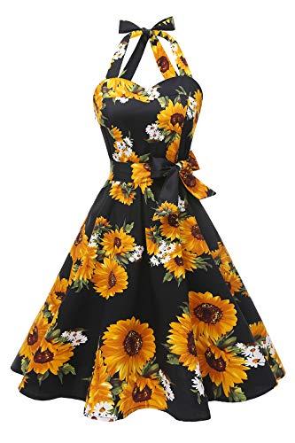 Topdress Women'sVintage Polka Audrey Dress 1950s Halter Retro Cocktail Dress Black Sunflower 3XL - Hand Wash Imported Halter