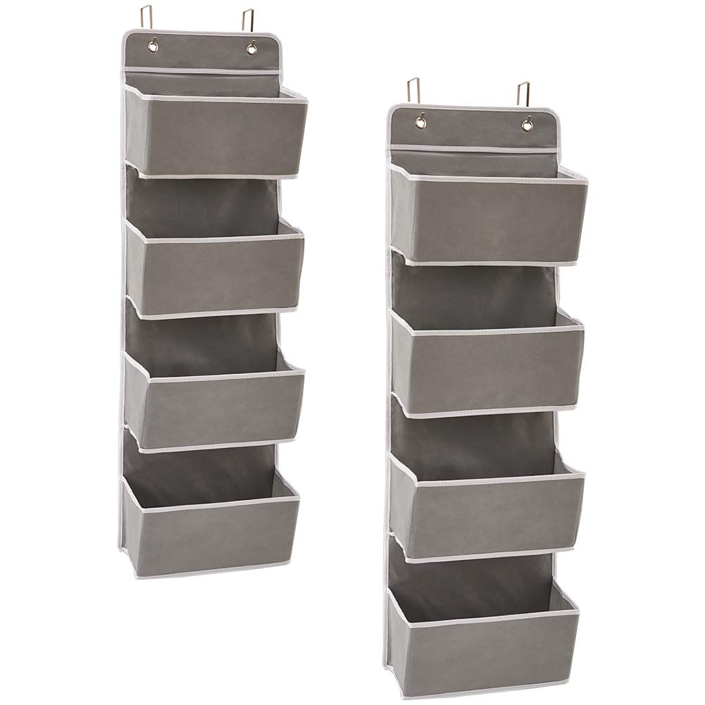 EZOWare Over The Door Organizer with 4 Pocket, Hanging Storage Organizer for Pantry Baby Nursery Bathroom Closet Dorm (Pack of 2, Gray)