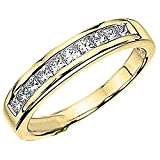 0.75 Carat (ctw) 14K Yellow Gold Princess Diamond Ladies Wedding Ring Band 3/4 CT (Size 8)