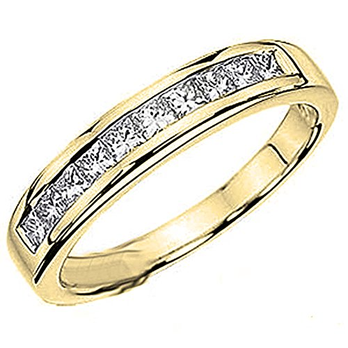 0.75 Ct Yellow Diamond (0.75 Carat (ctw) 14K Yellow Gold Princess Diamond Ladies Wedding Ring Band 3/4 CT (Size 9))