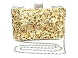 FIVE FLOWER Evening Bag Clutch Purse Handbags for Womens Shoulder Bag for Bridal Wedding Party Prom Annual meeting with Sparkly Rhinestones (Gold)