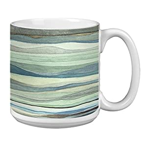 Tree-Free Greetings Extra Large 20-Ounce Ceramic Coffee Mug, Watercolor Waves Themed Shel Rummell Art (XM29479)