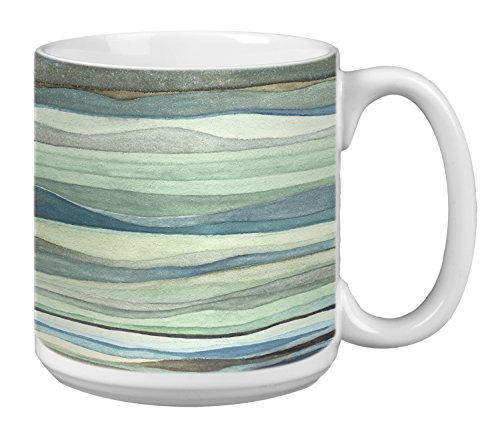 Extra Large Coffee Mugs - Tree-Free Greetings Extra Large 20-Ounce Ceramic Coffee Mug, Watercolor Waves Themed Shell Rummel Art (XM29479)