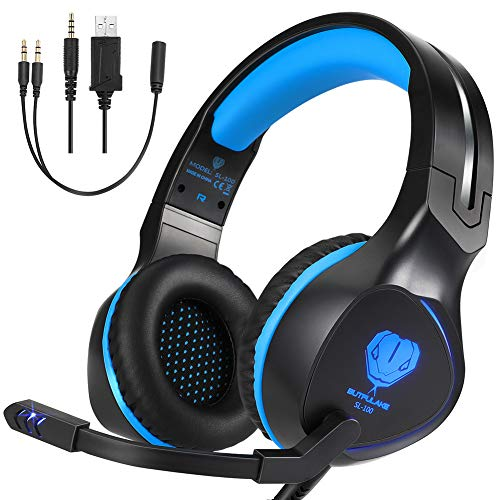 - BUTFULAKE Pro Stereo Gaming Headset for Xbox One, Xbox One S, PS4, PC, Nintendo Switch, Mac, Laptop, Computer, 3.5mm Wired Over-Ear Gaming Headphones with LED Light & Noise Canceling Microphone, Blue