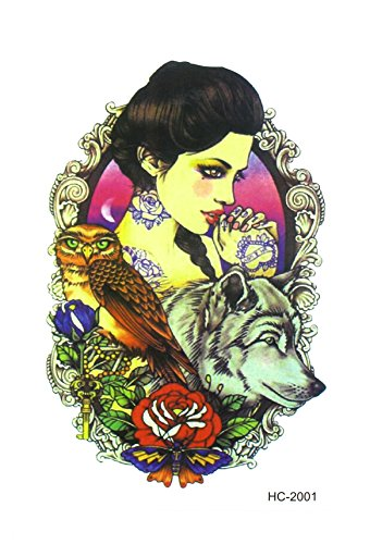 Temporary Tattoos Stikerthe Beauty and the Wolf Effect of Realistic 3D
