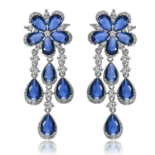 Gnzoe Womens Stud Earring Silver Plated Zirconia Flower Teardrop Tassel Silver Blue 2.1x5.3CM
