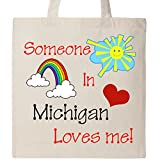 Inktastic Someone in Michigan loves me! Tote Bag Natural
