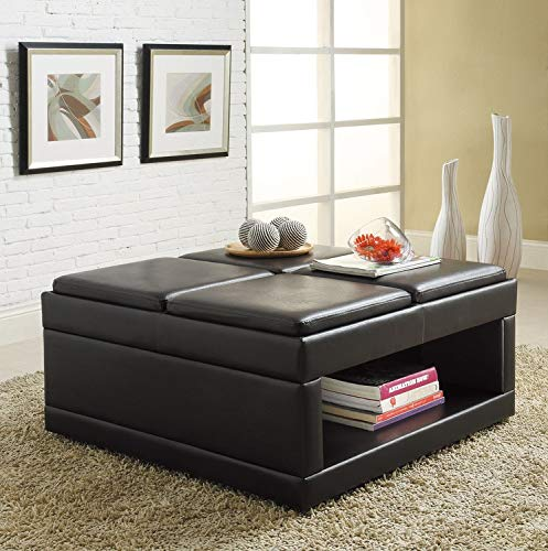 Homelegance 4732PU Castered Cocktail Ottoman Table, Dark Brown Faux Leather