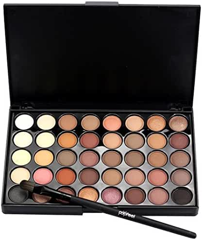 Creazy Cosmetic Matte Eyeshadow Cream Makeup Palette Shimmer Set 40 Color+ Brush Set (A)