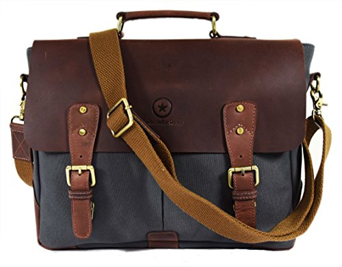 "(14.5"" Vintage Handmade Leather Canvas Messenger Bag 