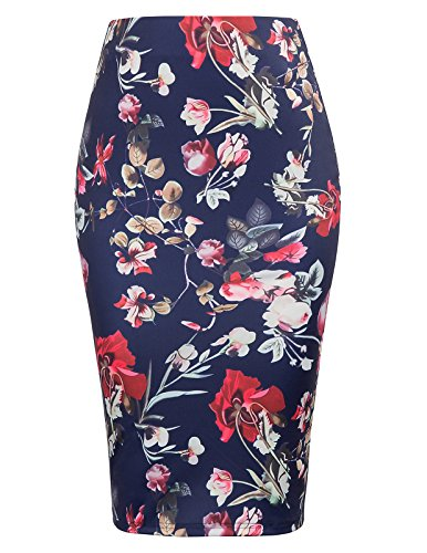 Kate Kasin Women's Stretchy Pencil Skirt Floral Business Skirts KK837-2 M ()