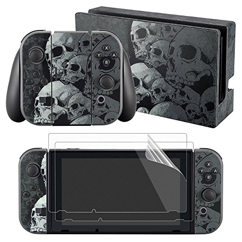 eXtremeRate Full Set Faceplate Skin Decal Stickers for Nintendo Switch with 2Pcs Screen Protector (Console & Joy-con & Dock & Grip) -Skull