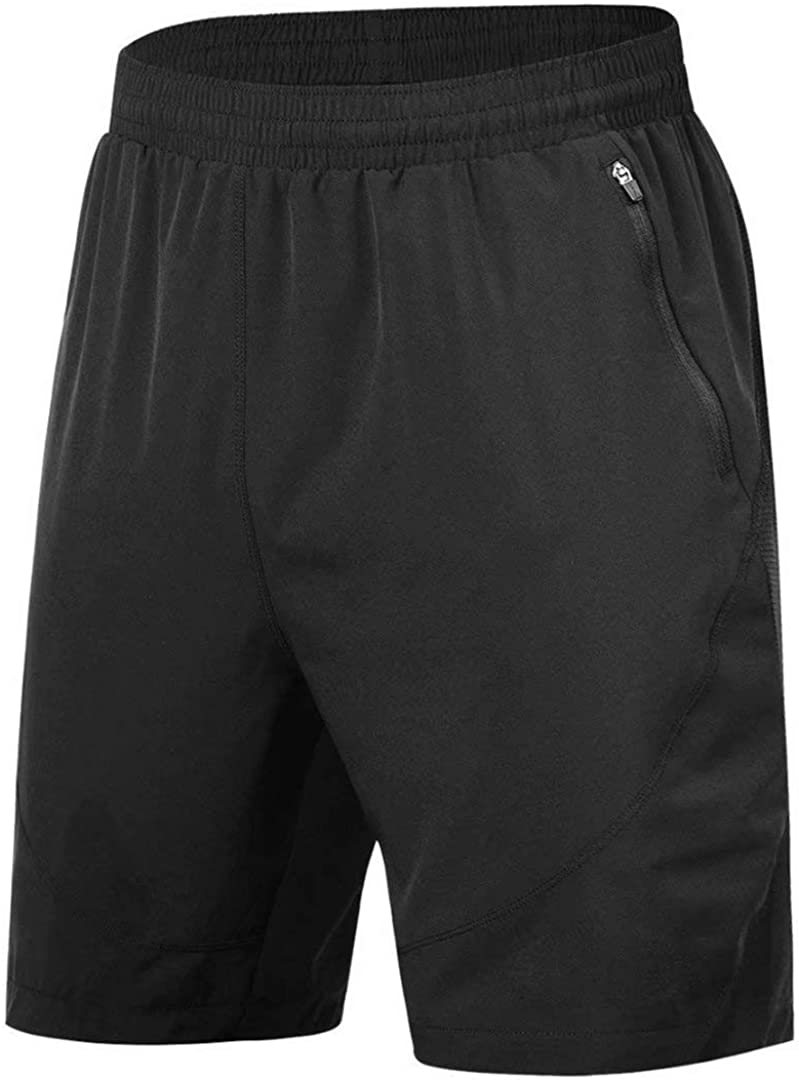 HMIYA Mens Sport Shorts Quick Dry Running Gym Casual Short Lightweight with Zip Pockets