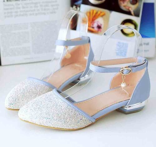 Blue Toe Pointed Sandals Square Buckle Ankle Women's Low Sequins Aisun Heel Charms qat1Pv